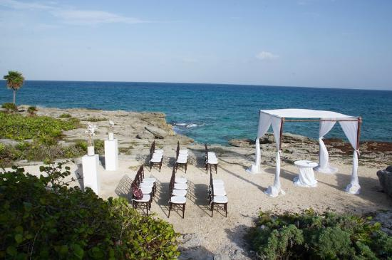 Occidental At Xcaret Destination Wedding Next To Ruins And Front If Beach Area