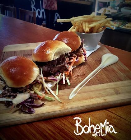 Bohemia Cafe and Bar: House made pulled Pork Sliders