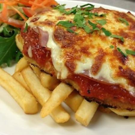 Chicken Schnitzel With Parmigiana Topper Chips Salad Picture Of The Beenleigh Bowls Recreation Club Beenleigh Tripadvisor