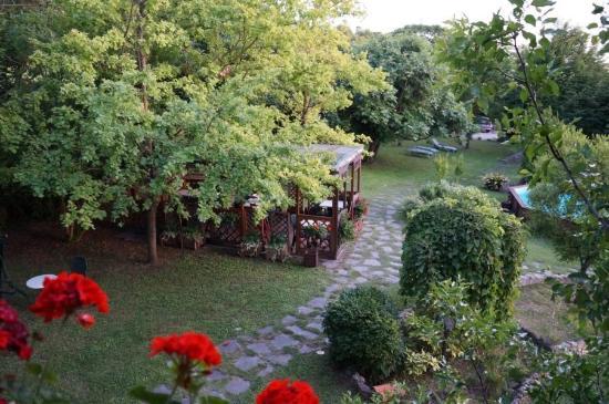 B&B Chez Vivi' : Blick in den Garten und Sommerlaube (Essplatz)