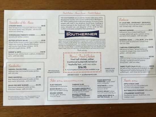 Saugatuck, MI: Dinner Menu