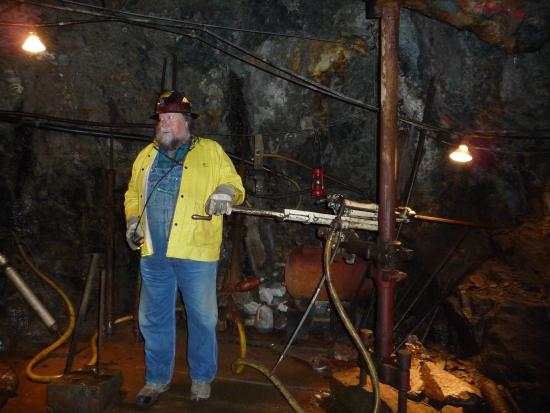 Old Hundred Gold Mine Tour: Joe with the drills
