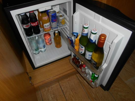 Velvet Hotel: Mini fridge/bar.