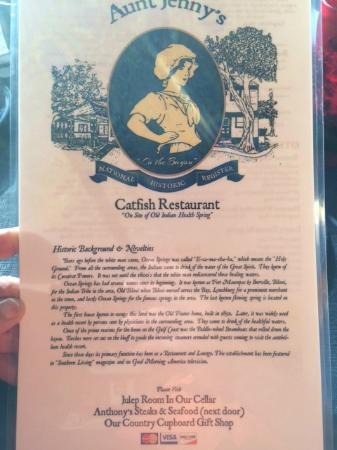 Aunt Jenny's Catfish Restaurant: Front of menu