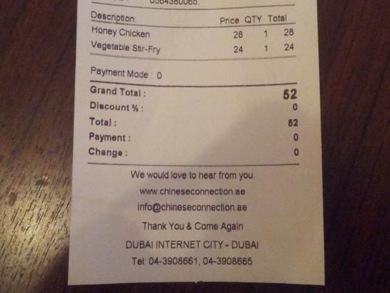 Receipt Picture of Chinese Connection Restaurant Dubai – Restaurant Receipt