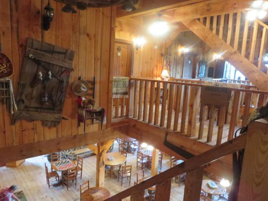 French Broad Outpost Ranch: View from room to saloon