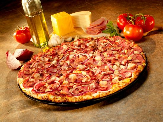 Abby's Legendary Pizza: Abby's Chicken + Country Bacon + Canadian Bacon Pizza