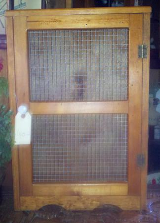 The Chalet Antiques Barn & Museum: MESH FRONT STORAGE CABINET $40.00