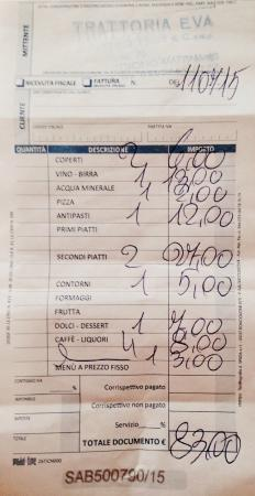 trattoria eva : copia della ricevuta fiscale