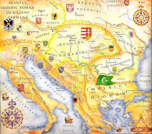 Map from Romania Valahia 15th Century Picture of Brasov Day
