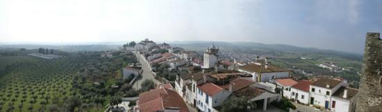 Terena, Portugal: Village from castle ramparts with Casa foreground right