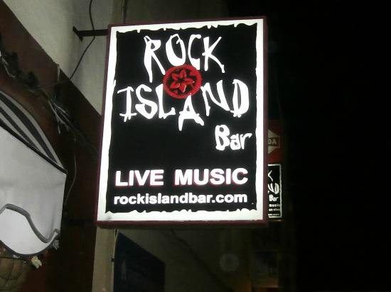 Rock Island Bar: Sign outside.