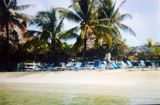 Roatan Pirates Bay: View of beach and outdoor restaurant from the water