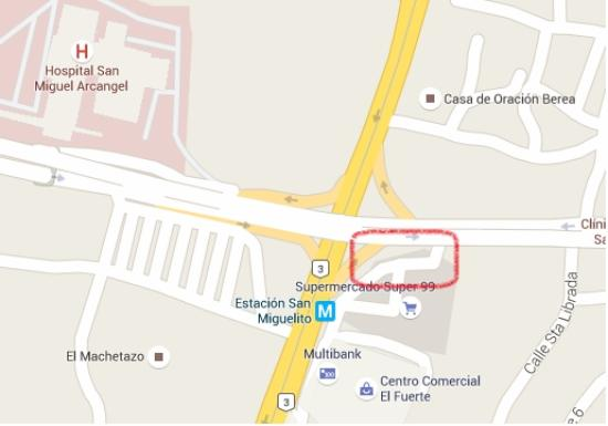 Catch the bus to Metromall at San Miguelito in the red box area
