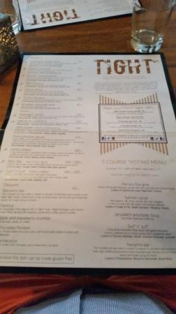 Tight : Dinner menu