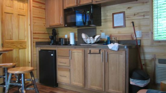 Jellystone Park at Dogwood Valley : small fridge w/ TINY freezer, sink all utensils and pans supplied even grill equip