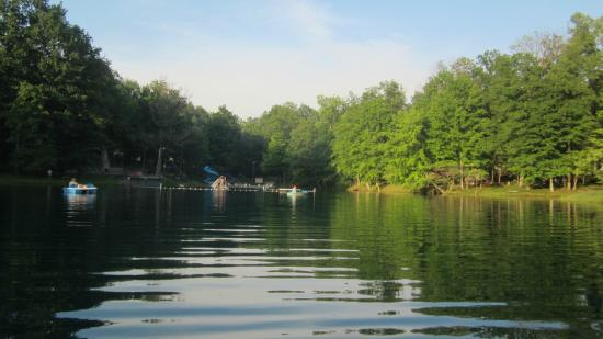 Jellystone Park at Dogwood Valley : view of lake- swimming, paddle boats, fishing