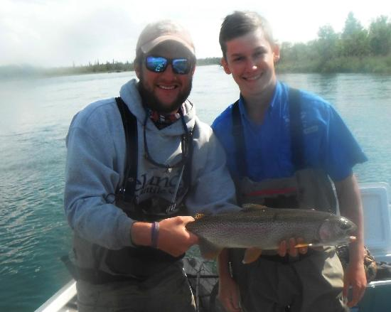 Katmai Lodge : Another big rainbow caught by my son.
