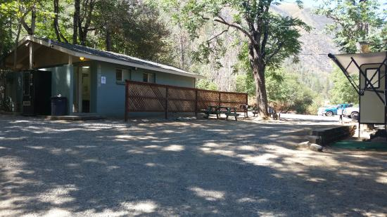 Indian Flat Campground: Bathrooms/showers. More showers behind this building.  Also an RV site