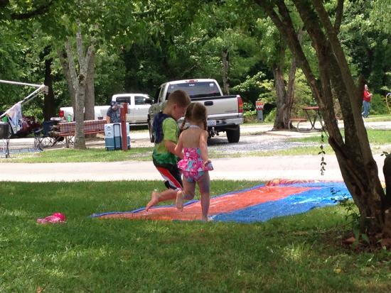 Clabough's Campground : Slip n slide on spot 100