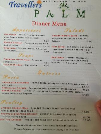 Travellers Beach Resort: Dinner Menu