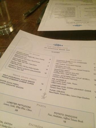 Chatham Bars Inn Resort - Dining : меню