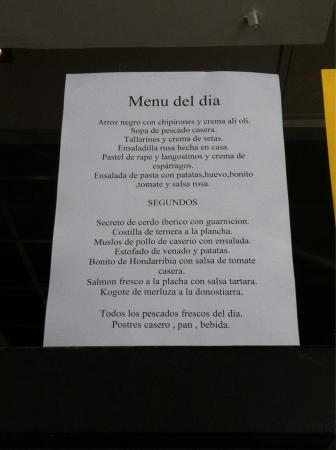 Mil catas : Menu of the day 11.5 euros, great meal with wine and dessert included!