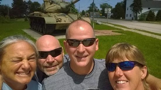 Germfask, MI: Quick pix with the tank outside the Jolly Inn