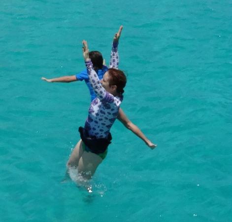 Simpson Bay, St. Maarten-St. Martin: Grandma and granddaughter dive off trapeze