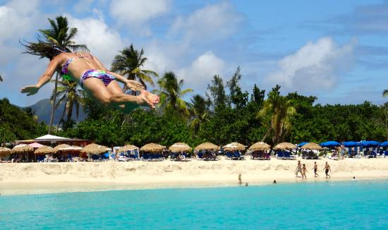 Simpson Bay, St. Maarten-St. Martin: Diane demonstrating how to dive from the swing