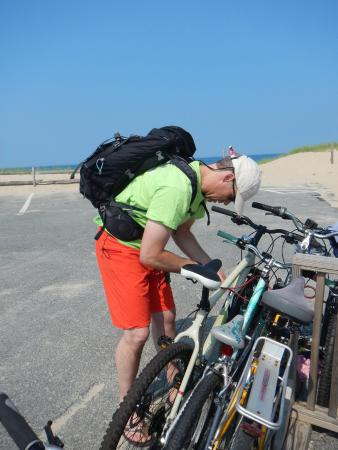 North Of Highland Camping Area: bike racks at the beach 3 minute ride away