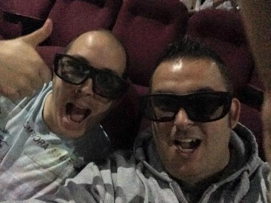 Cineworld Cinemas: Me (right) and our kid with the fancy Imax glasses