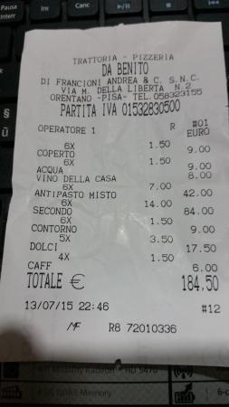Orentano, Италия: Scontrino