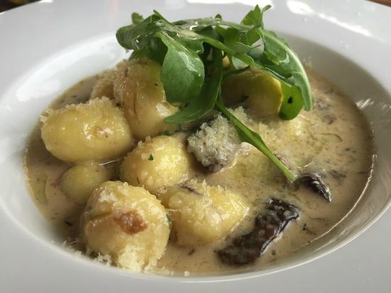 Most, สาธารณรัฐเช็ก: Home-made Gnocchi w Boletus Mushrooms & Cream Sauce.