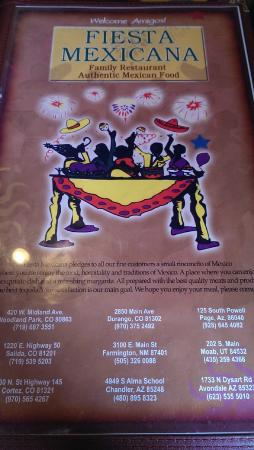 Fiesta Mexicana Family Restaurant: Menu front