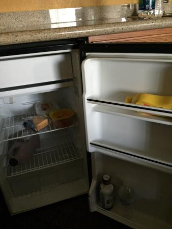 Welcome Hotel and Suites: In my fridge upon staying in the room.  Clearly housekeeping doesn't clean/check fridge.  Cheese