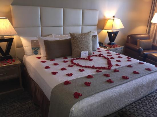 The San Luis Resort: Our bed was decorated with rose petals for our anniversary!