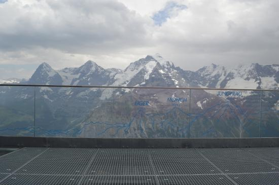 Murren, Switzerland: views from Birg - there's a glass/grated walkway over a cliff