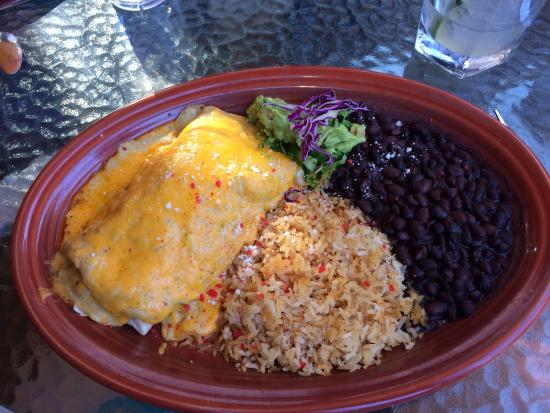 San Carlos Restaurant: Salmon and shrimp burrito with a creamy green chili.