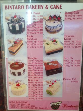 Daftar Menu Dan Harga Foto Bintaro Bakery Cake Jakarta