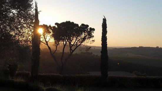 La Cipressina: sunset from backyard terrace