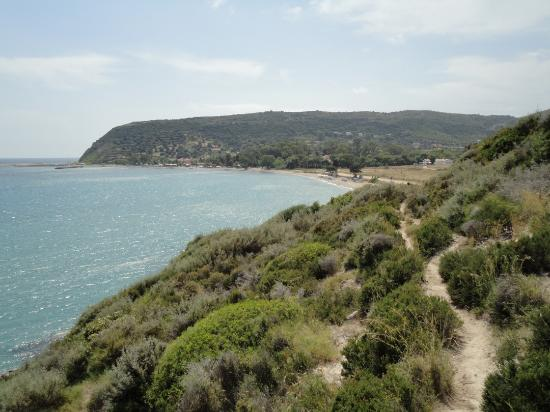 Filoxenia Apartments: Katelios. Left to right - the harbour, tavernas & the beach