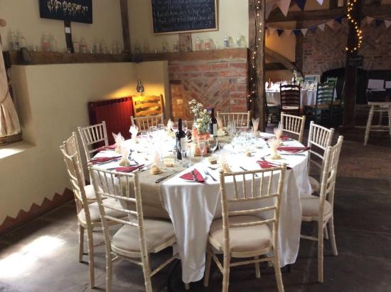 The Cider Barn: Table set up for the wedding