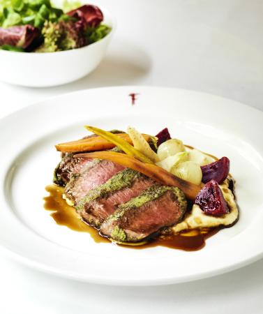 Franco's : Herb crusted lamb with celeriac puree and root vegetables