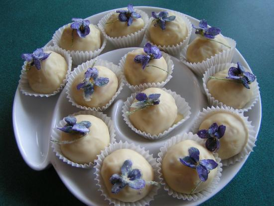 Confections with Convictions: White Chocolate with Rose, Lavender Hibiscus & Spice (Candied Wild Violet)