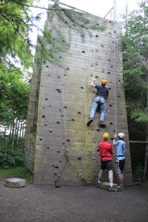 Loughcrew Adventure Centre: The family enjoying the climbing wall