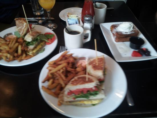 Eatery : Sorry about the blur! Triple decker and stuffed french toast.