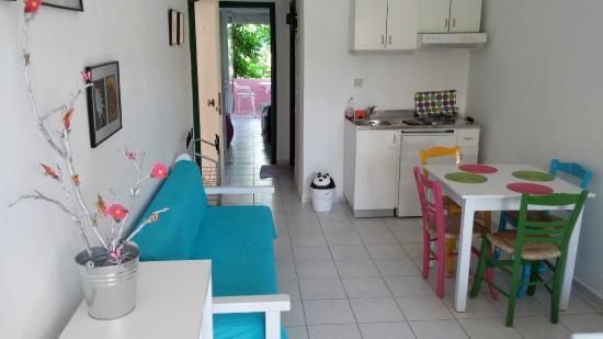 Livadi Apartments: Soggiorno (angolo cottura)