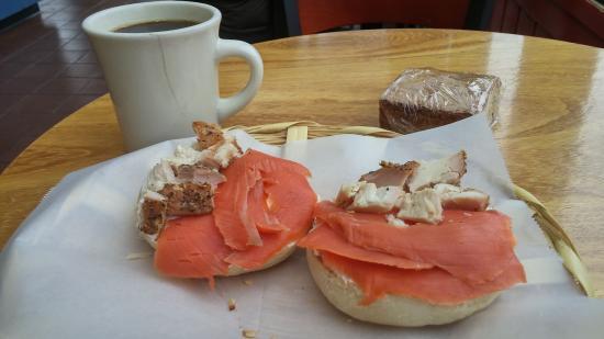 Los Bagels: seafood combo on onion bagel $8.75 ... and my favorite santa cruz dark coffee.