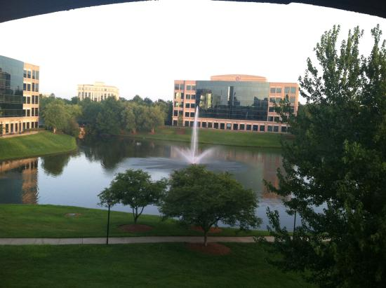 "Courtyard Charlotte Ballantyne: Dusk over looking the ""Fountain in the Lake"""
